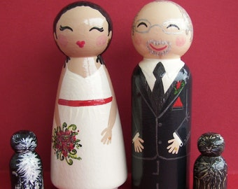 Hand Painted Love Boxes Custom Wedding Cake Toppers Bride Groom two cats