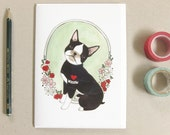 Card for Mom - Card for Dog Mom - Mother's Day Card Funny - Dog Tattoo Card - Boston Terrier Card - Boston Terrier with Mom Tattoo