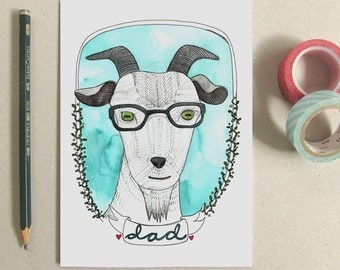 Father's Day Card - Goat with Glasses - Goat Illustration - Goat Card - Funny Card for Dad - Goat Dad