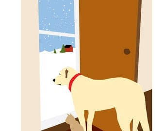 Original Illustration yellow lab and cat  at door 8 x 10 Print in mat Home for the holidays