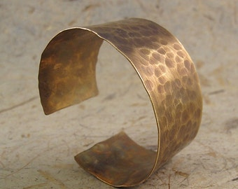 Brass Hammered Sheffield Cuff - Large, wide, brass, cuff, bracelet