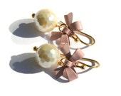 Pearl Bow Earrrings, Vermeil, Pink Shell Earrings, Wedding, Bridesmaid Jewelry