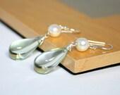 Green Amethyst Earrings, Pearl Dangles with Pale Green Drop, Sterling Silver Gemstone Jewelry