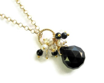 Black Teardrop Necklace, Onyx Gemstone Drop, Pearl, Quartz Cluster Pendant, Black and Gold Vermeil Wedding Bridal Jewelry