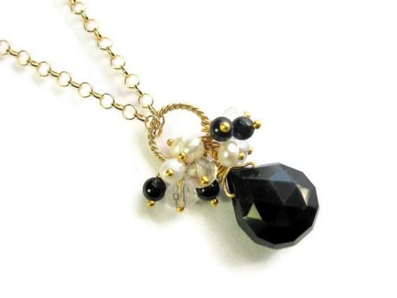Black Teardrop Necklace, Onyx Gemstone Drop, Pearl, Quartz Cluster Pendant, Black and Gold Vermeil Wedding Bridal Jewelry