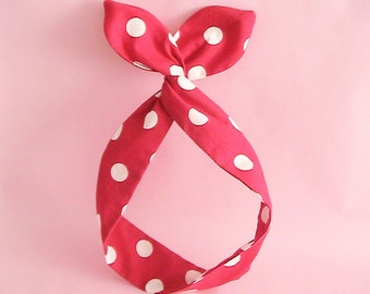Dolly Bow Headwrap- Red and White Polka Dots OR Black and White Polka Dots