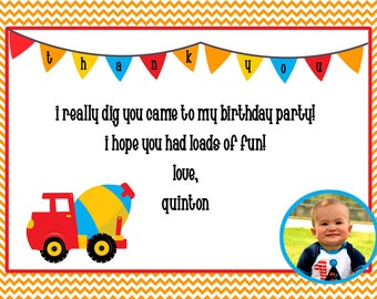 construction printable thank you card with photo, 5x7, do it yourself