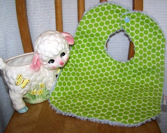 SALE Chenille Bib green dots snap absorbent gift baby toddler by PETUNIAS
