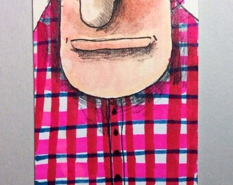 Plaid Shirt ACEO by Aaron Butcher