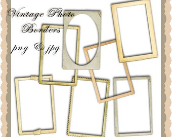 Set of seven Vintage photo frame borders In jpg and png