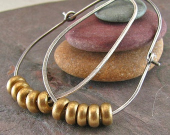 Rustic Jewelry Sterling Silver Hoop Earrings Large Oval Hoop Mixed Metal Jewelry Oxidized Silver Vintage Brass Beads Recycled Silver Jewelry