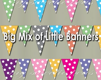 Instant Download PDF Printable Banner Assortment Party Pennant Bunting pink, orange, yellow, purple, gray, green: Small & Mini Multi-size