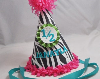 Zebra Party Hat Girl- Personalized
