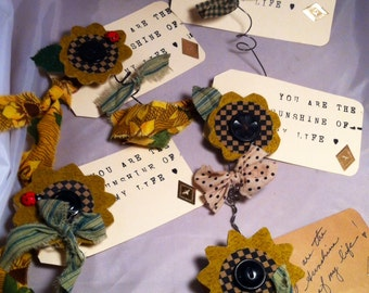 Handmade Fabric Sunflower pins brooches