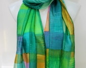 Freehand Plaid Silk Scarf  - large size - painted colorful weave  - In Stock Fast Ship