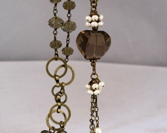 Long Smokey Quartz Nugget and Pearl Dangling Necklace