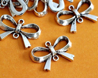 Lead Free 50pcs Antique Silver Bowknot Links H935-AS