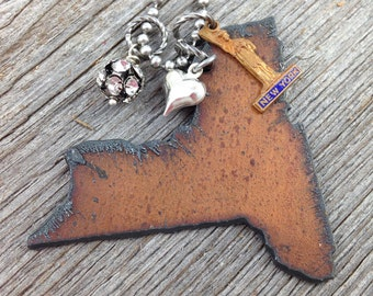 I Love NEW YORK Necklace - Recycled Rustic Metal State Shape with Vintage Statue of Liberty Charm, Heart, and Rhinestones