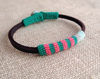 Leather & crochet cotton striped friendship bracelet