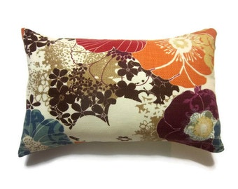 Decorative Lumbar Pillow Cover Tangerine Orange Aqua Purple Red Brown Cream  Same Fabric Front/Back  Accent Throw 12 X 18 inch x
