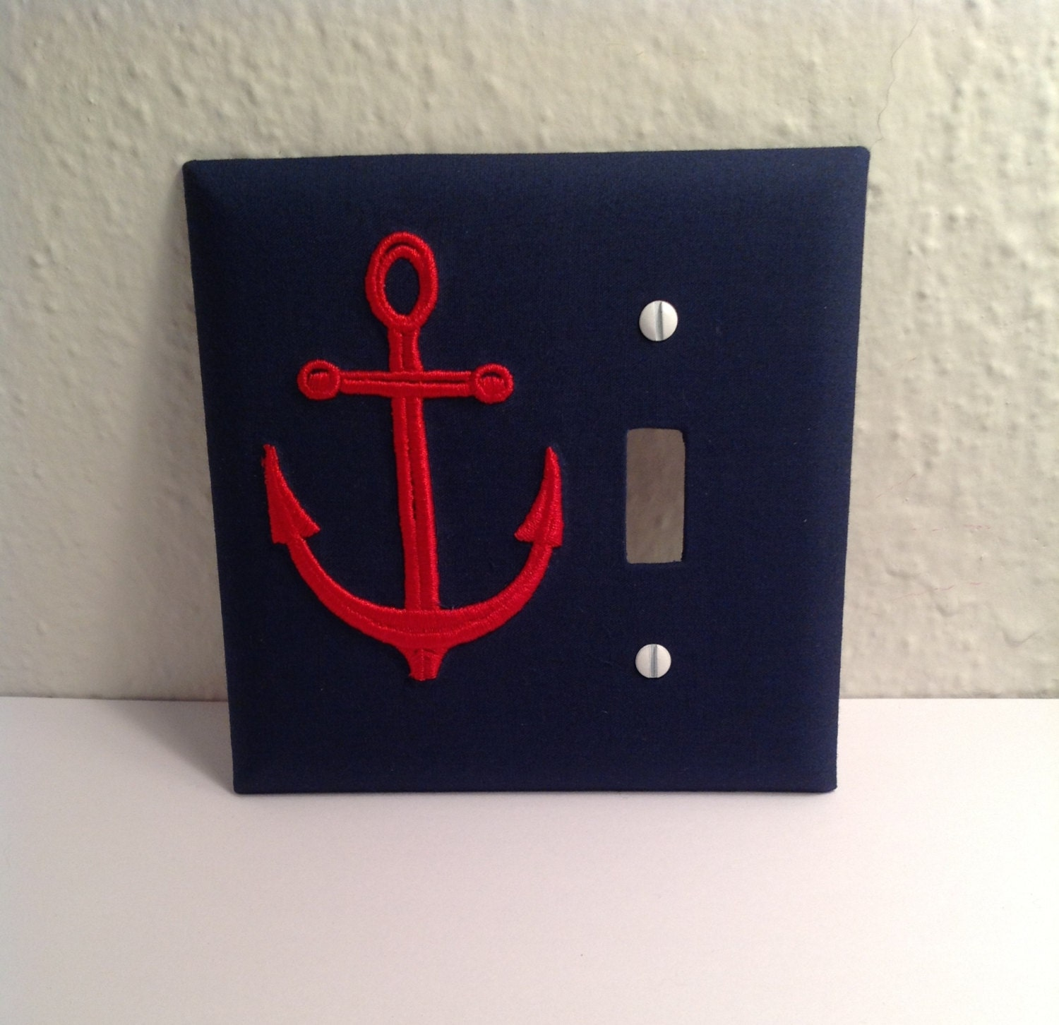 Light Switch Plate Cover: Nautical Anchor Light Switch Cover Plate Navy Blue Fabric