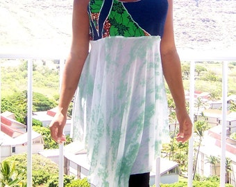 OOAK// flyTie Clothing // Denim Leaf Print Babydoll Dress // Large