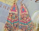 Seed Bead Earrings Pink Coral Sand Long Metallic Fringe Earrings Large Beaded Bohemian Turquoise Southwest  Statement Jewelry