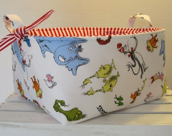Cat in the Hat - Made with Dr. Seuss Licensed Fabric - XLarge Diaper Caddy - Fabric Organizer Storage Bin Basket Container