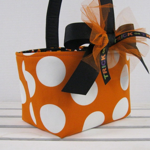 Halloween Trick or Treat Candy Basket Bucket - Orange with Jumbo Large White Dots Fabric
