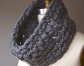 SALE - super chunky cowl - gray thick crochet structured snood