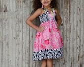Girls birthday wedding Easter damaks pink flower girl Dress Size 12 months to 12 yrs Roses