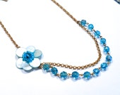 Aqua Blue Shell Flower And Crystal Necklace