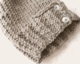pattern knit hat, womens knit hat, slouchy knit hat, buttons, soft merino wool, augustyn