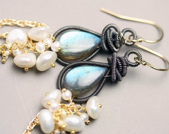 Long Labradorite Earrings Wire Wrapped Dangle Earrings