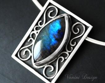Fire Blue Labradorite,Fine/sterling silver pendant necklace