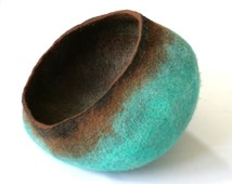 Pet / Dog / Cat Bed / Cave / House / Vessel - Hand Felted Wool - Teal Brown Stone - Crisp Contemporary Design