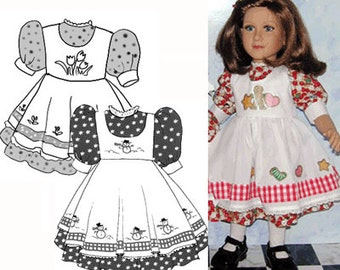 My Twinn Full Dress and Pinafore doll clothes sewing pattern  top PDF 82204