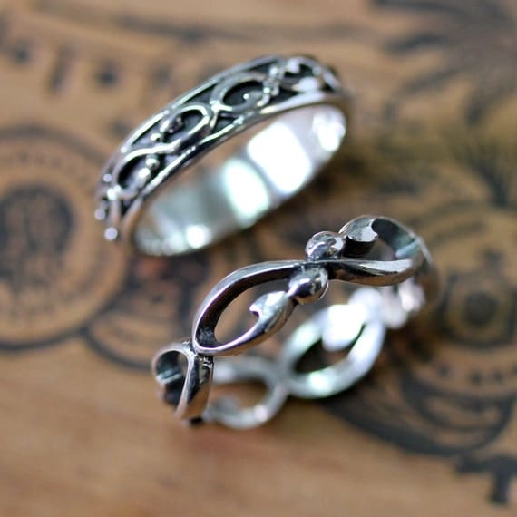 Infinity wedding band set silver wedding ring set infinity