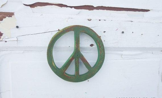Wall Art Greenpeace : Green peace symbol salvaged wood art reclaimed decor