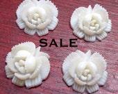 Vintage White Lucite Rose Flower Cabochons (4X)(CB501) SALE - 25% off