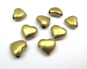 Vintage Brass Heart Bead Pendants (6X) (V139)