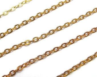 Vintage Raw Brass Flat Cable Chain (6.2 g) (C543)