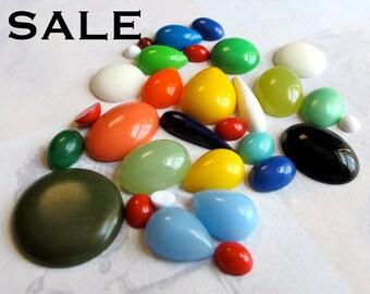 Vintage Lucite Plastic Cabochon (50X) (CB526) SALE - 40% off