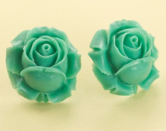 Vintage Large Turquoise Rose Button Post Earrings 25mm