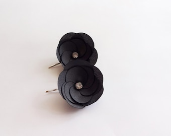 Charcoal Gray Fabric Flowers Hair Pins, Shoe Clips