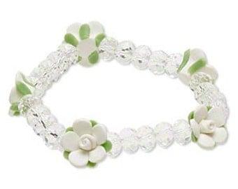 Floral Gardenia Polymer Clay and Crystal Beaded Bracelet - Feminine!