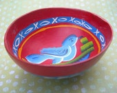 Vintage Mexican Bowl Calabaza Pintado RED with BLUE BIRD Painted Gourd 1970s