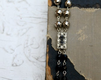 Vintage Rhinestone, Onyx and Pyrite One of a Kind Bracelet..Chatter 6