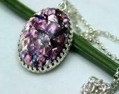 Huge Purple Fire Opal Pendant Sterling Silver Stunning Beautiful Memorizing
