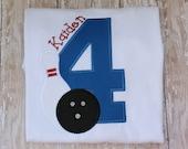 Custom  Personalized Girls Boys  Bowling Long or SS T shirt Photo Prop Gift